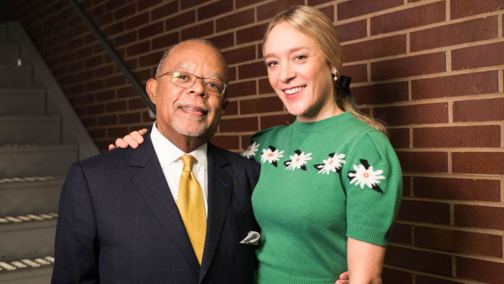 Host Henry Louis Gates, Jr. with actress Chloë Sevigny while taping Finding Your Roots.