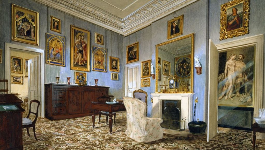 Painting of Prince Albert's dressing room at Osborne House. At far right is the painting of Hercules and Queen Omphale in his bathroom.