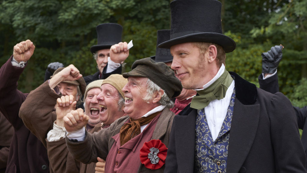Victoria, Season 3, Episode 1. Laurence Fox (far right) joins the cast as the charming and calculating Lord Palmerston.