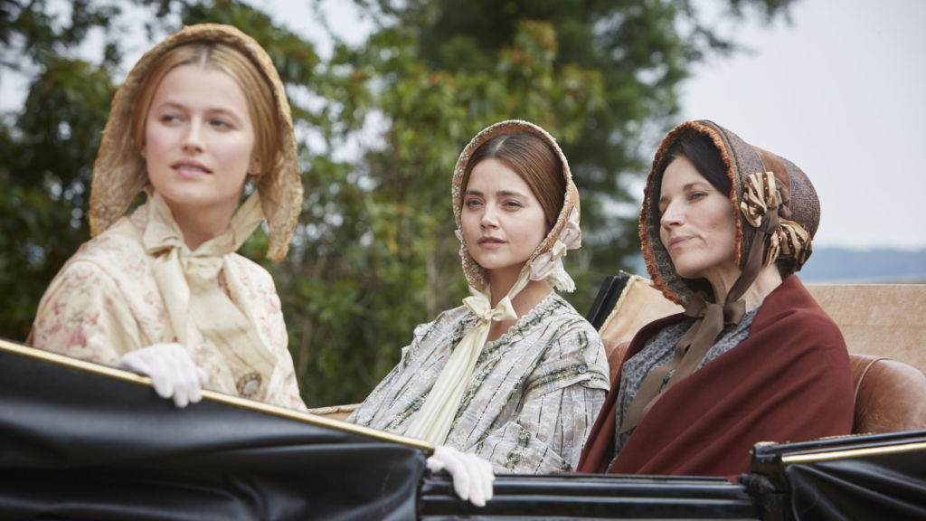 Victoria, Season 3, Episode 1. Pictured l to r: Lilly Travers as Duchess Monmouth; Jenna Coleman as Queen Victoria; Kate Fleetwood as Princess Feodora.