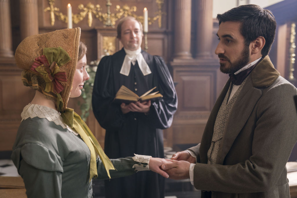 Victoria, Season 3, Episode 2. Charles Francatelli played by Ferdinand Kingsley and Skerrett played by Nell Hudson.