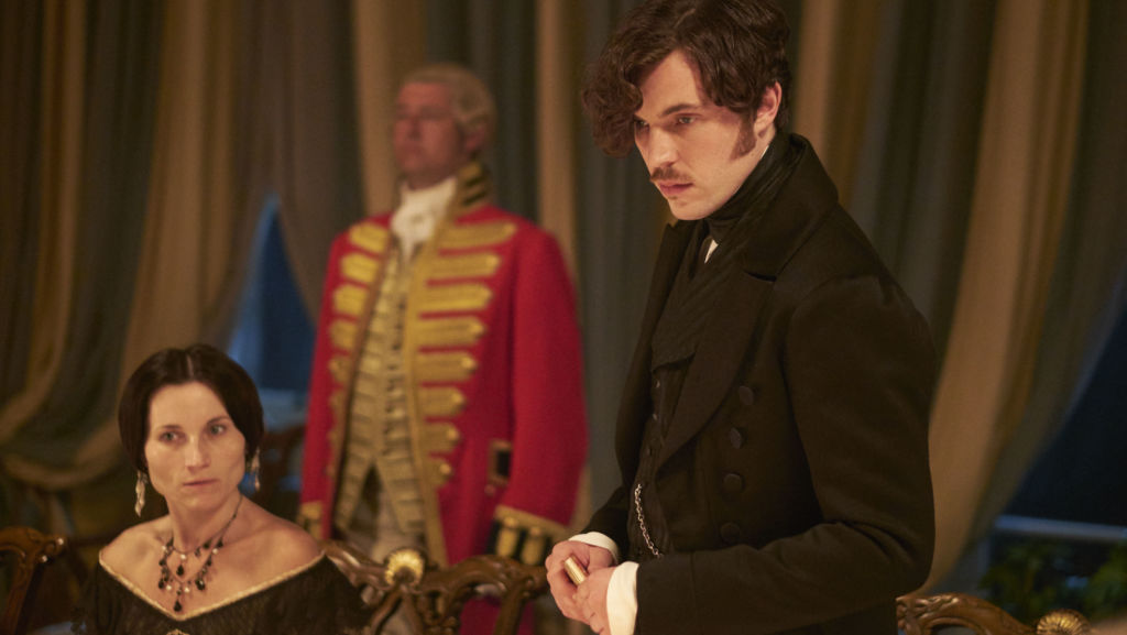 Feodora (Kate Fleetwood) and Prince Albert (Tom Hughes) during a dinner table argument between Albert and Victoria in Episode 3