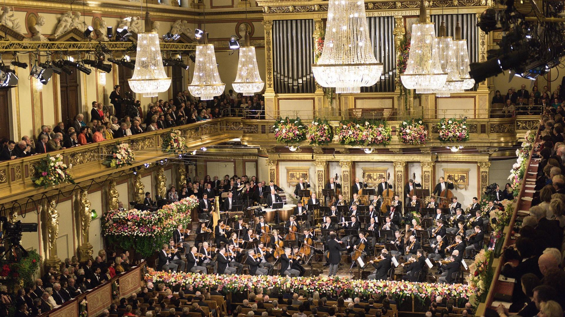 Scene from a Vienna Philharmonic New Year's Day concert from Great Performances, filmed at Vienna's opulent Musikverein.