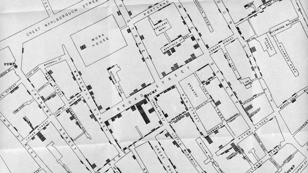A map of Soho death sites during cholera epidemic of 1853, based on work of John Snow.   Credit: Wellcome Library, London