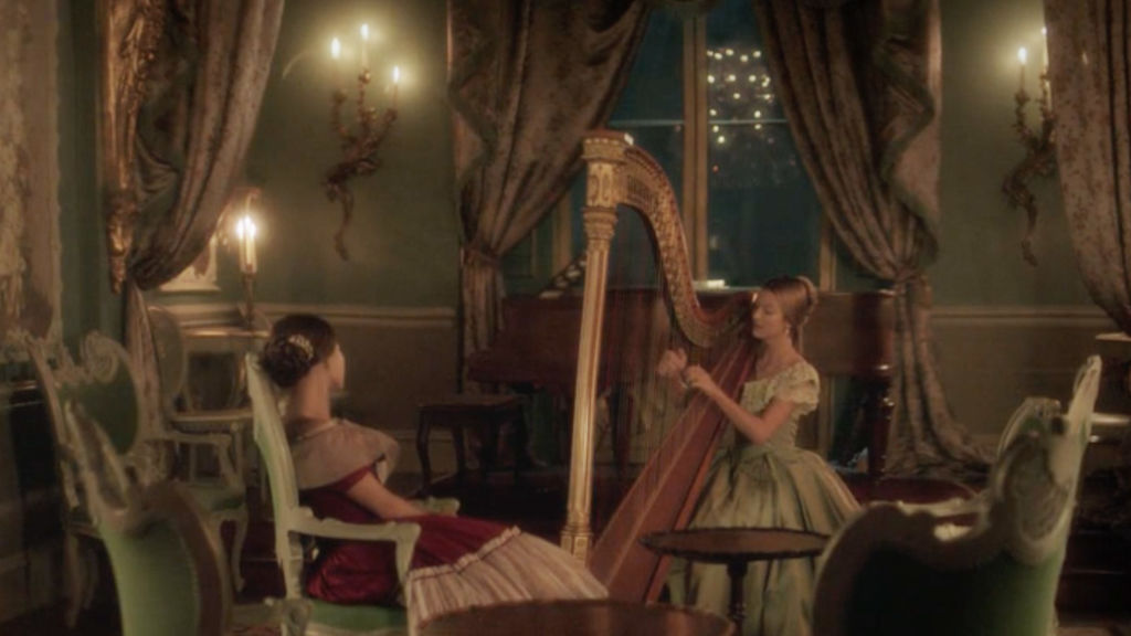 Victoria takes some comfort in harp music played by Sophie.