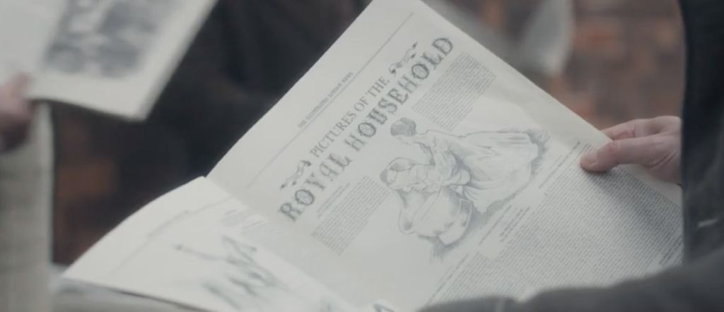 One of the newspaper drawings is of Victoria giving her baby a bath. Victoria Season 3, Episode 6