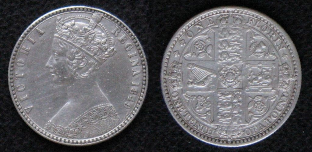 The coin known as the Godless florin, featuring Queen Victoria.