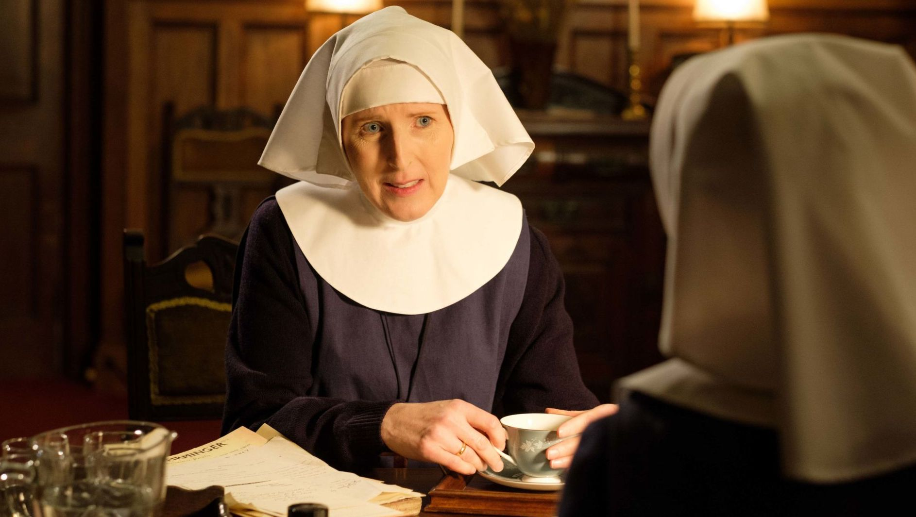 Sister Hilda (FENELLA WOOLGAR) and Sister Julienne (Jenny Agutter) discuss abortion.