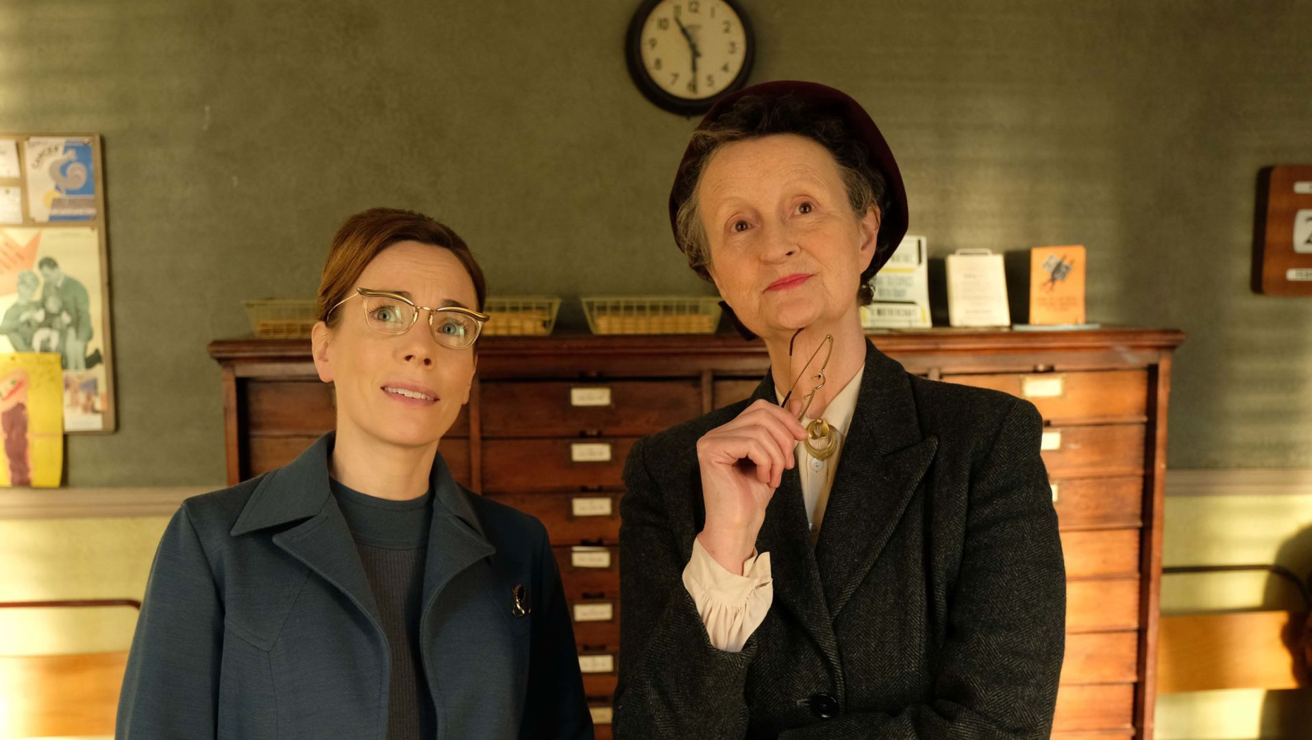 Shelagh Turner (LAURA MAIN), and the new receptionist Miss Higgins (GEORGIE GLEN).