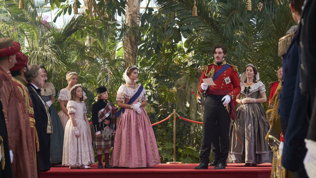 At the Great Exhibition: Queen Victoria played by Jenna Coleman and Prince Albert played by Tom Hughes.