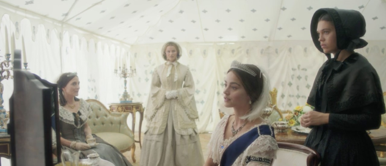 Emma, Sophie, Queen Victoria and dresser Abigail gather at the VIP room of the Great Exhibition.