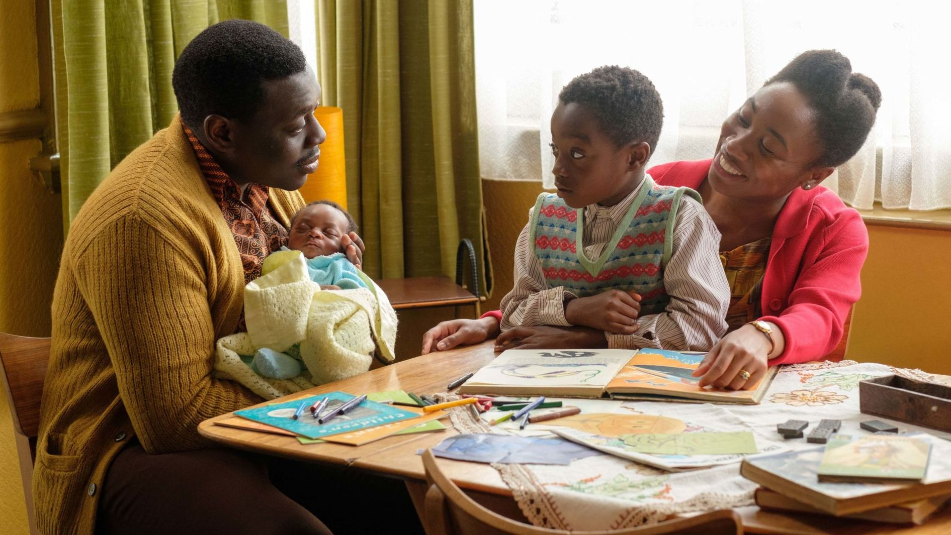 L to r: Joel Aidoo (EKOW QUARTEY), Matthew Aidoo (ZION KOFI), Flora Aidoo (JESSICA KENNEDY).in Call the Midwife Season 8, Episode 2.