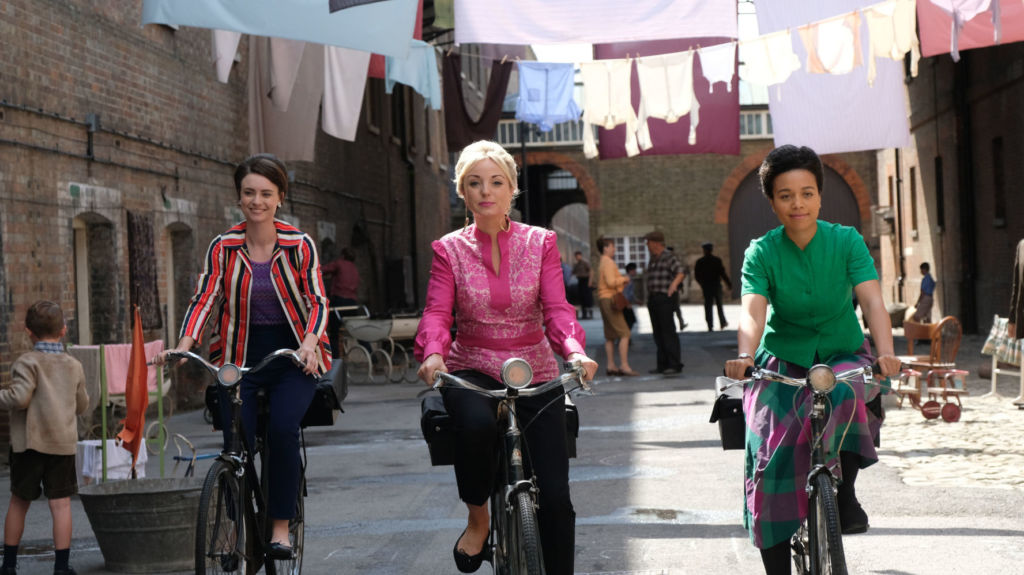 L to r: Nurse Valerie Dyer (JENNIFER KIRBY), Nurse Trixie Franklin (HELEN GEORGE), Nurse Lucille Anderson (LEONIE ELLIOTT) in episode 4.