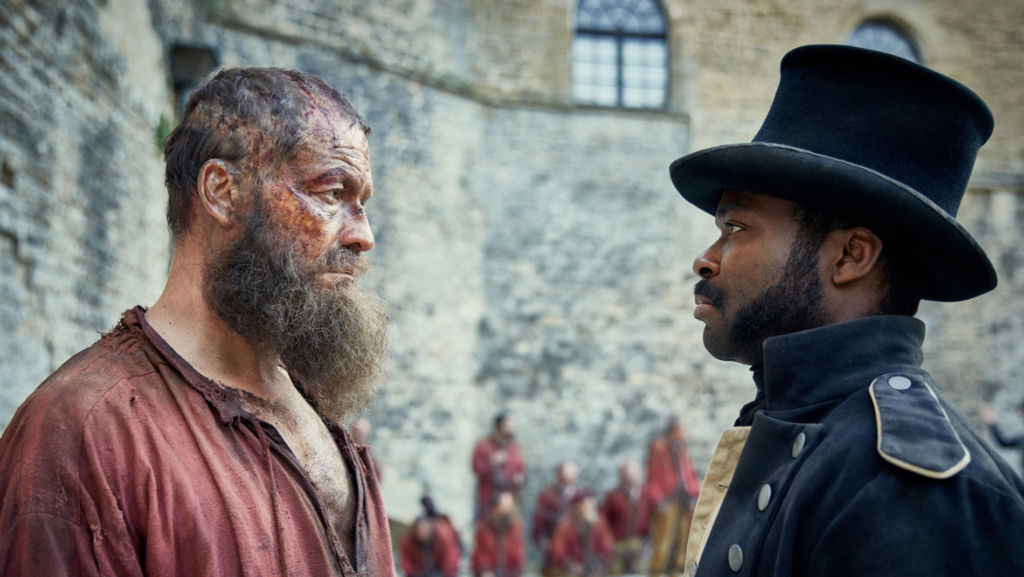 Episode One: Jean Valjean (DOMINIC WEST), Javert (DAVID OYELOWO). Photo: Robert Viglasky (C) Lookout Point