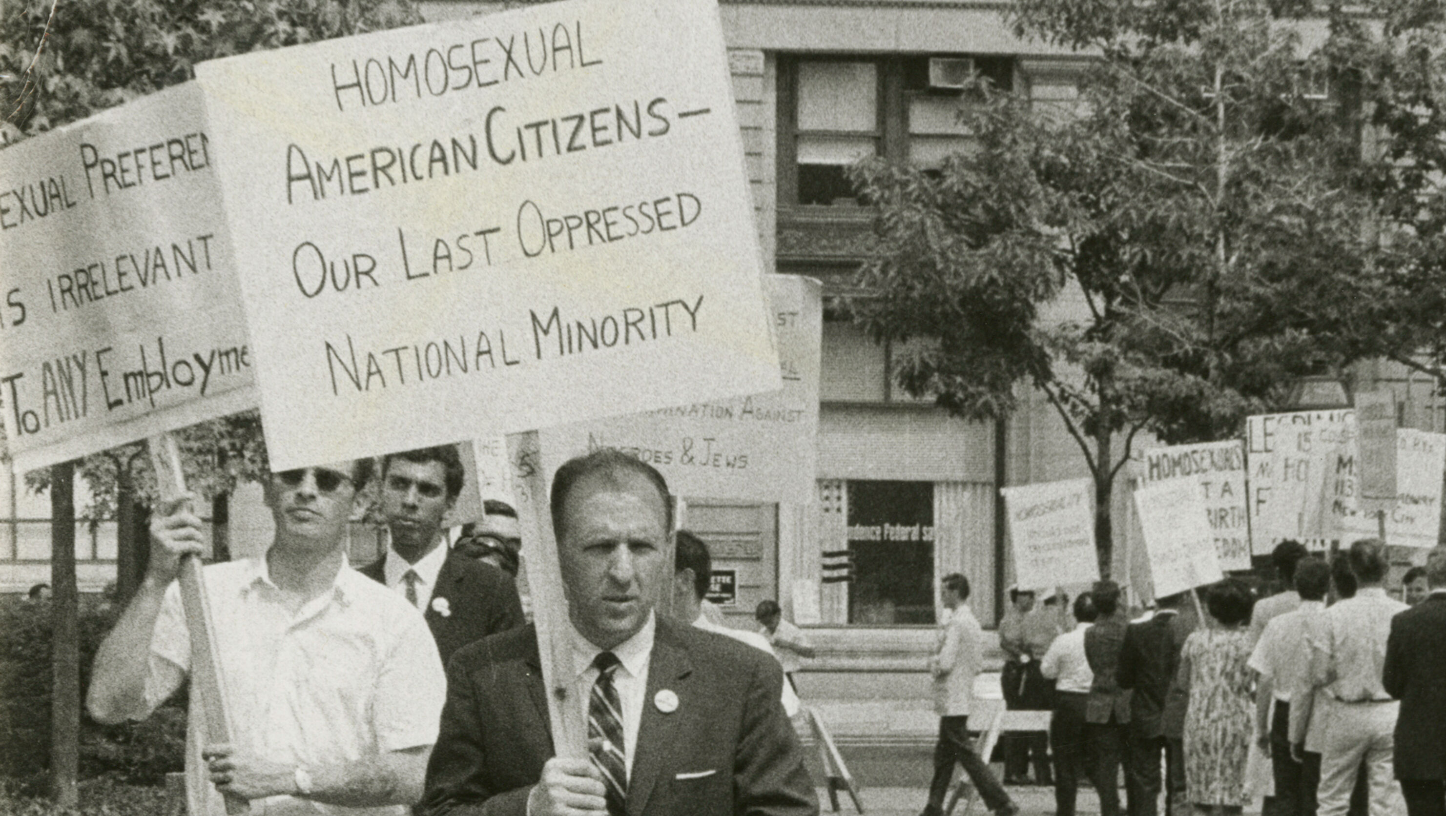 Frank Kameny leads a picket line in front of Independence Hall in Philadelphia on July 4, 1965.