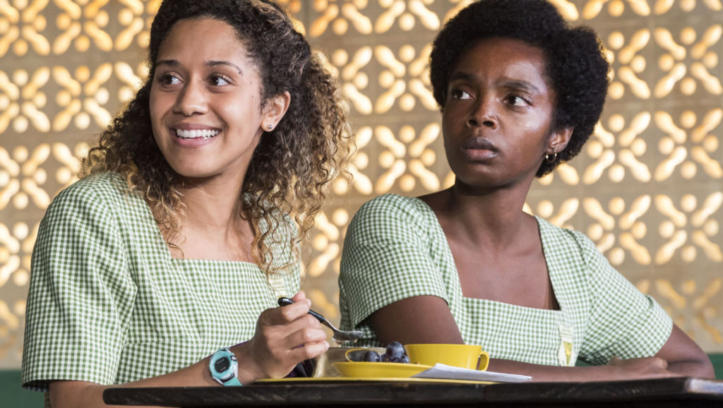 "l to r: Joanna A. Jones and MaameYaa Boafo in the MCC Theater production of ""School Girls; Or, the African Mean Girls Play"" at the Kirk Douglas Theatre. Credit: 2018 Craig Schwartz Photography"