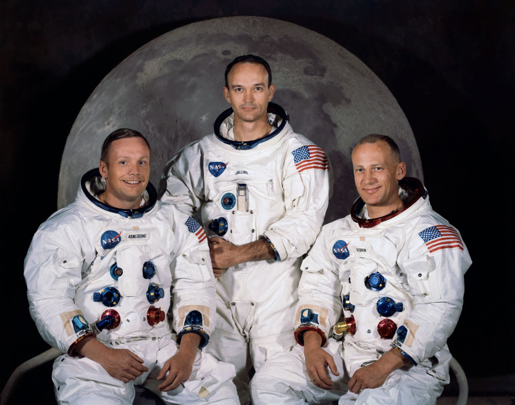 Apollo 11 Crew, l to r: Neil Armstrong, commander; Michael Collins, command module pilot; and Edwin E. Aldrin Jr., lunar module pilot. Photo: NASA