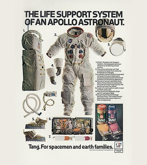 "1969: Tang launches ""For Spacemen and Earth Families"" ad."