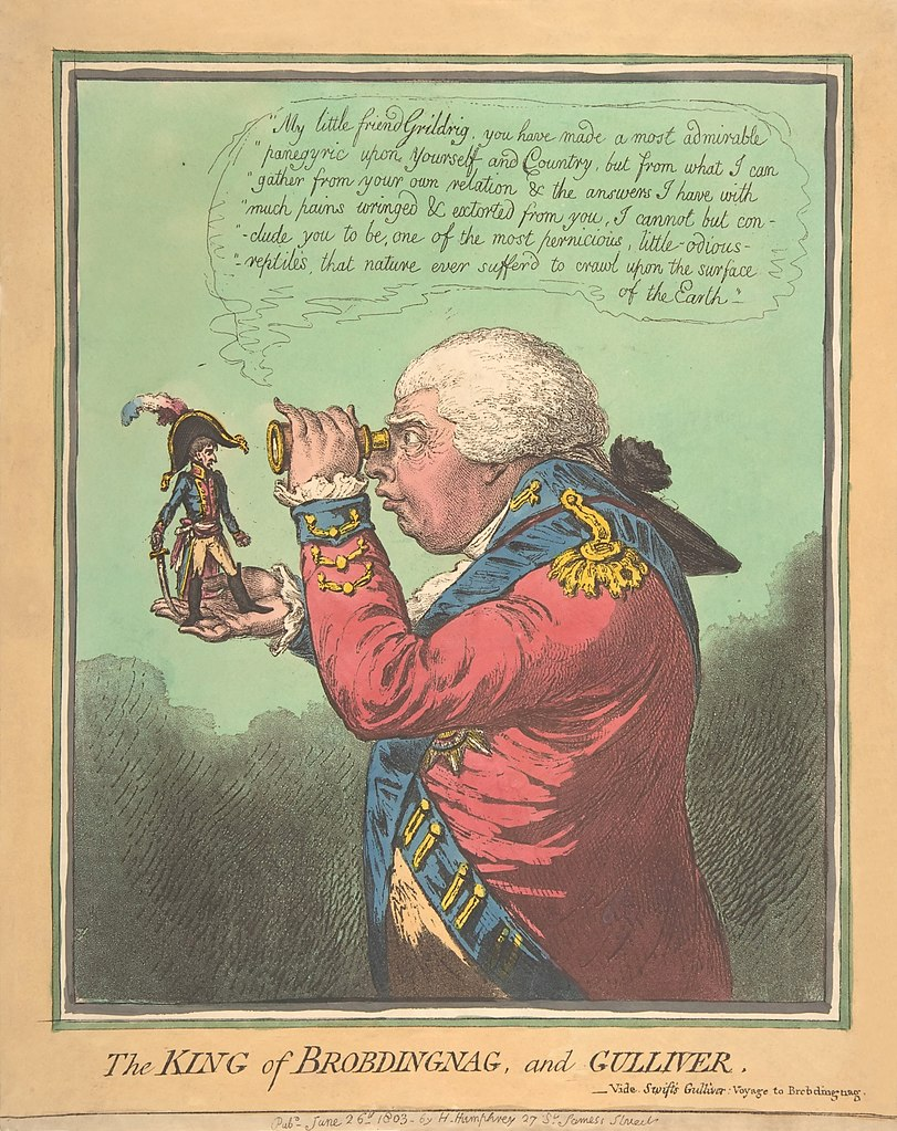 "Artist James Gillray uses King George III and Napoleon as stand-ins, respectively, for the King of Brobdingnag and Gulliver of ""Gulliver's Travels."""