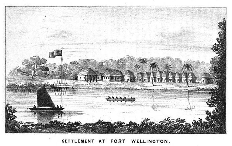 Black and white engraving of Fort Wellington on the Black River, Mosquito Coast, mid-1840s.