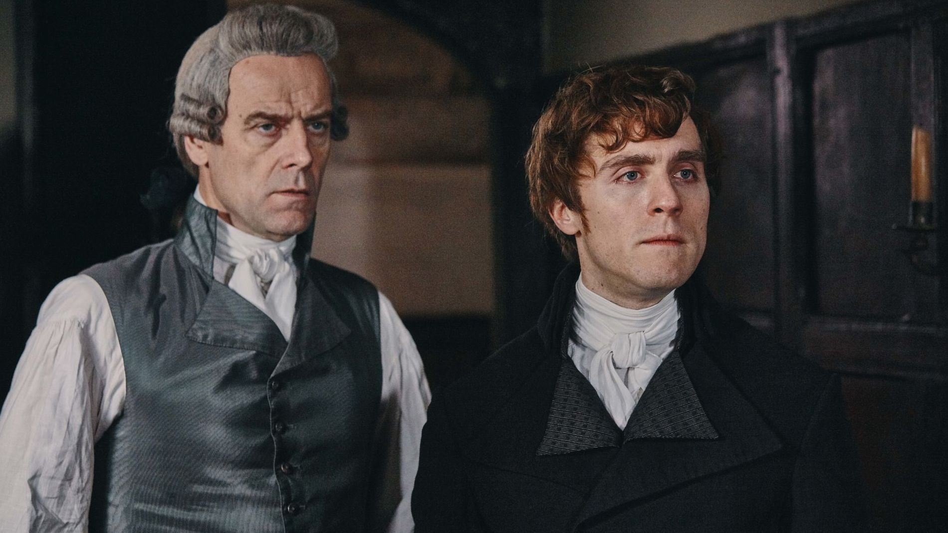 L to R: Pip Torrens as Cary Warleggan and Jack Farthing as George Warleggan.