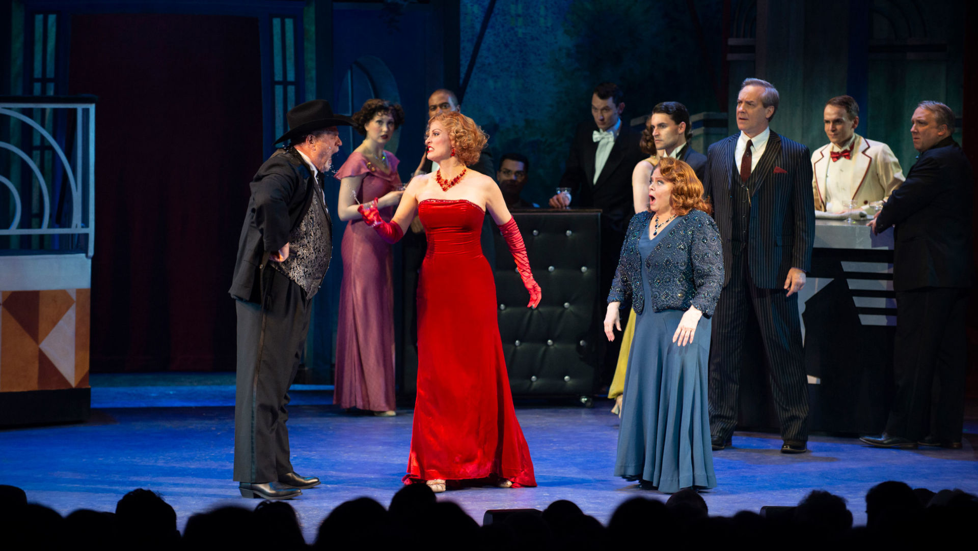 Rachel York as Dorothy Brock in red, flanked by Sally Struthers as Maggie Jones in 42nd Street. Photo: Gary Ng.