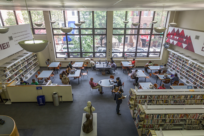 Inside the Countee Cullen Library in Harlem.