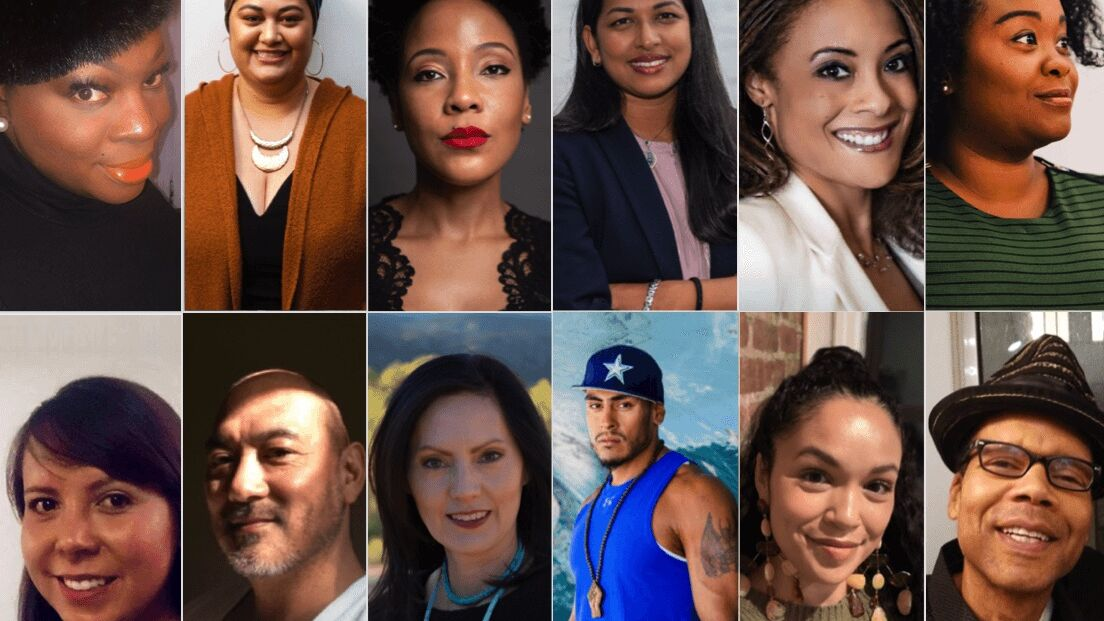 A photo collage of 12 people of color's portraits in a grid.