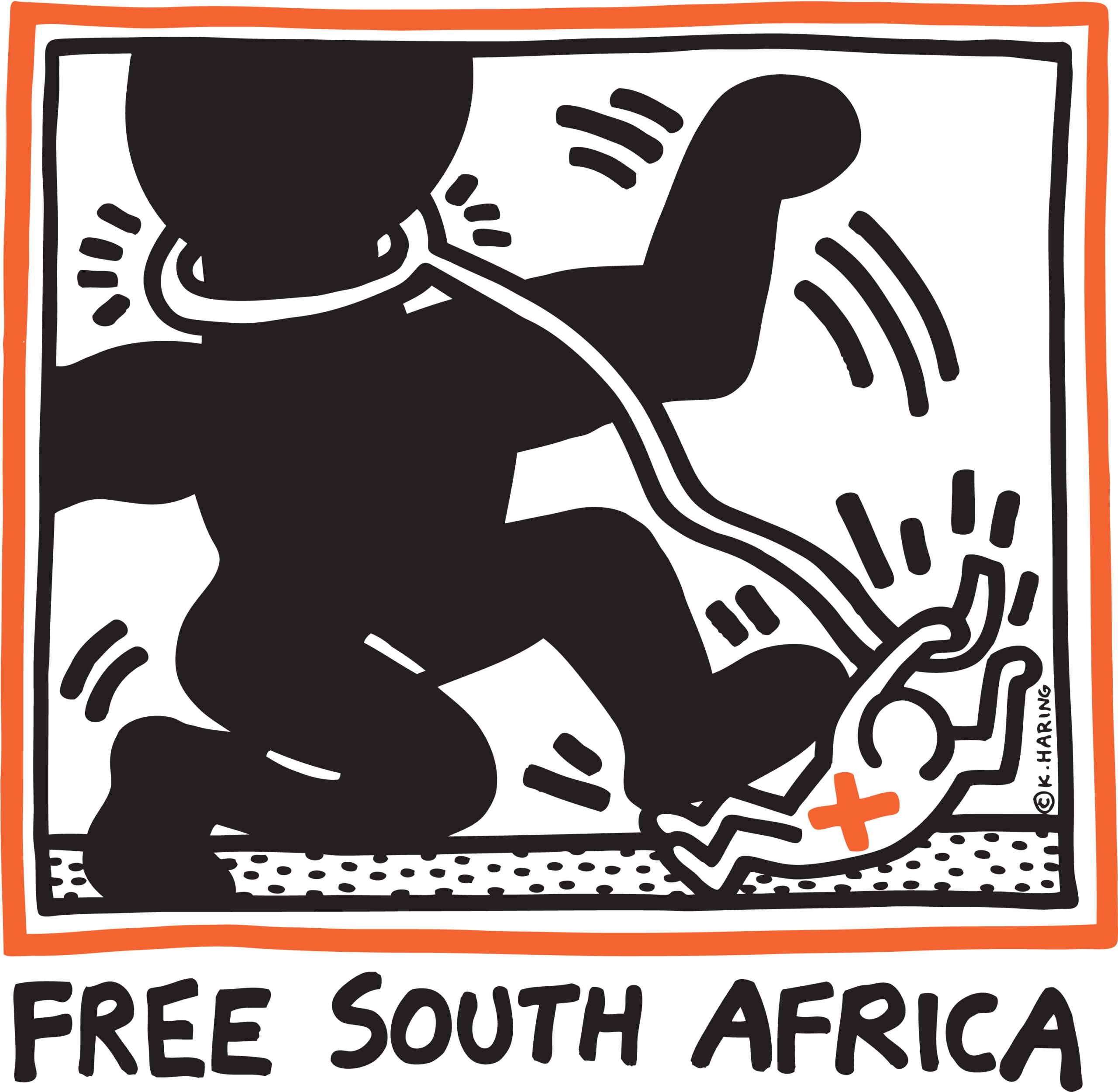 A poster by Keith Haring that says Free South Africa at bottom. The square image above it has a black and red square outline. Within that frame is a large black silhouette of human that has a white rope-like object circling its neck and it extends like a rope downward to the hand of a white figure. The black figure is kicking the smaller white figure down. The white figure has a red x on its chest. The image implies movement with black dashes.