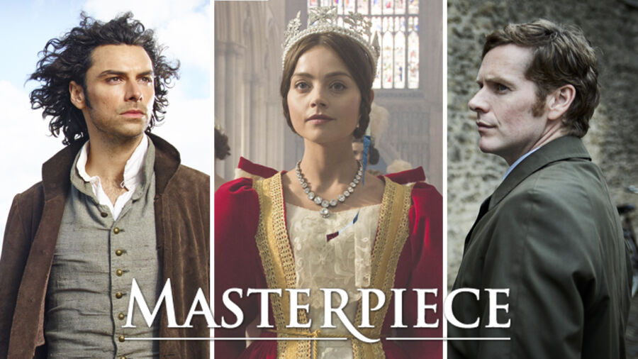 Three photos of Masterpiece characters in a collage: Left to right: A man dressed in 18th century clothes with long dark hair; a young woman dressed in red robe and tiara portrays the Queen of England; a man in grey suit and dark hair against a brick wall.