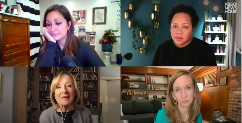 screengrab of video call between four woman. Their screens form four equal quadrants of a rectangle screen. Each are seated in front of their computer screen within a room of their home.