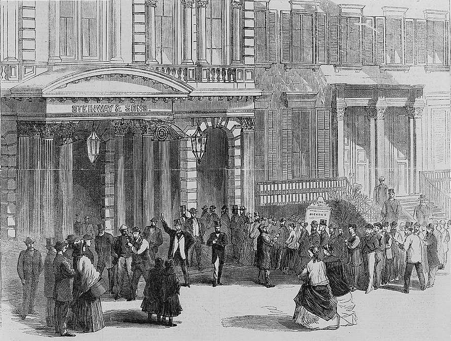 Black and white illustration of men and women standing outside a colonnaded building. Some are waiting in a line.
