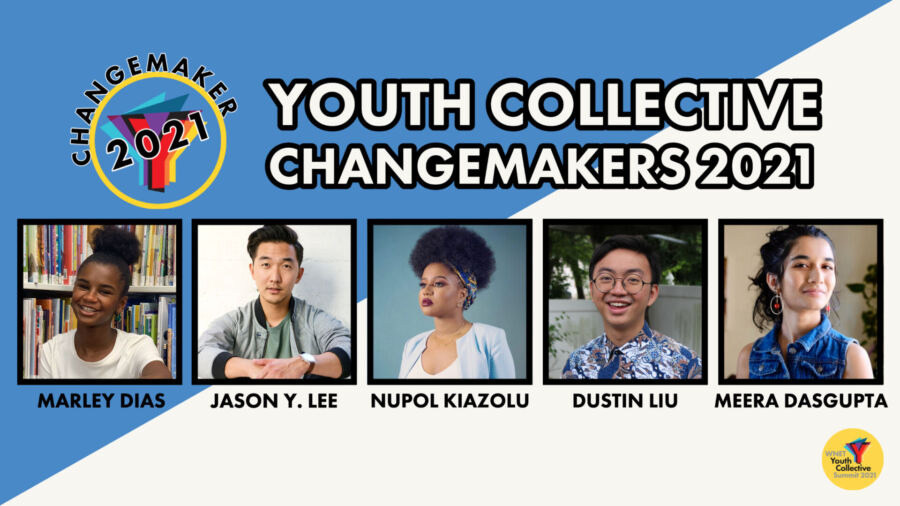 Youth Collective Changemakers 2021 is written out and beneath it are portraits of five young people who are honored.
