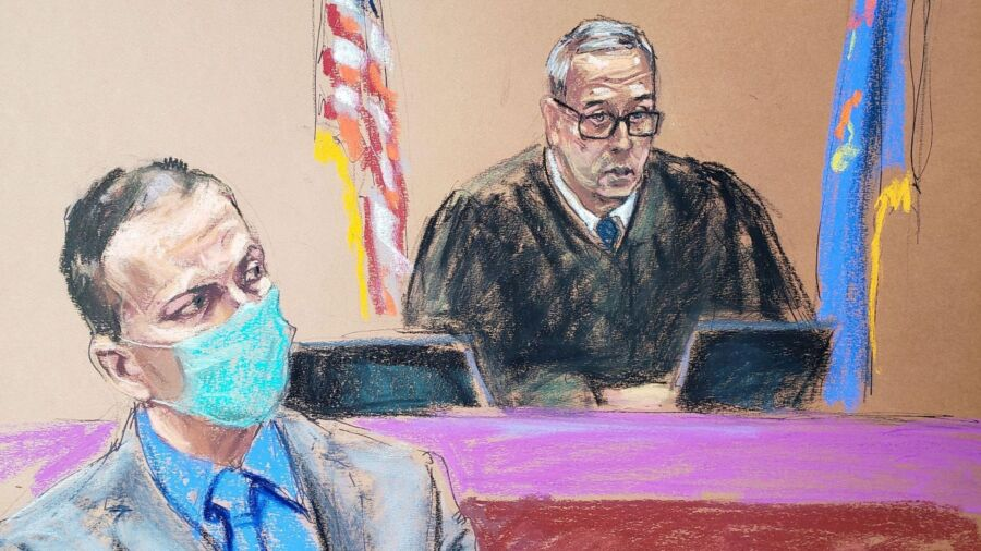 Pastel illustration of two men in court room; a man in foreground wears suit and blue mask; a judge sits between two flags and does not wear mask.