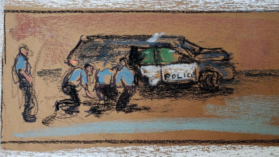 A pastel court illustration of a police vehicle and four police officers, three crouched over a body on ground