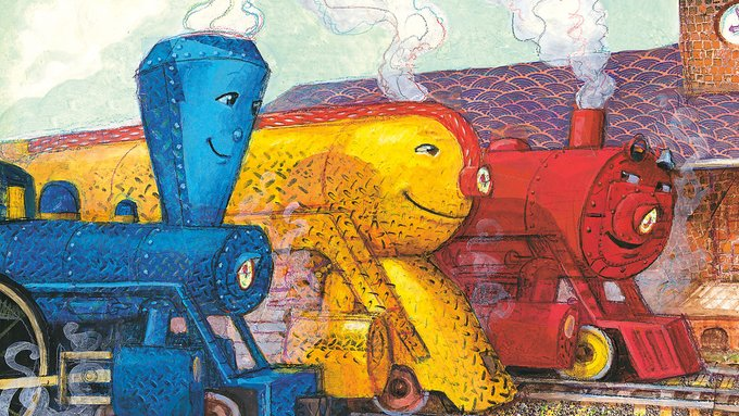A drawing of blue, yellow and red train engines with smiling faces.