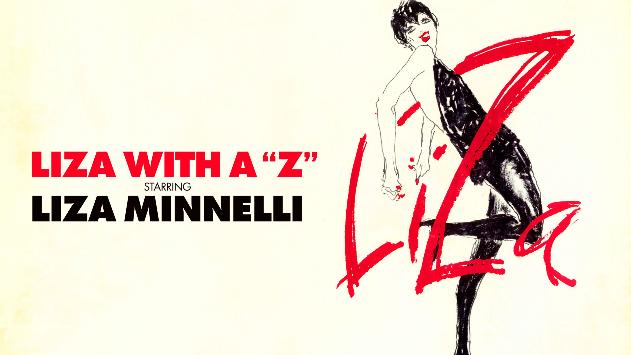 An illustration of dancing woman in short black dress and black stockings and heels, with the letters L, I, Z, A wrapping around her body