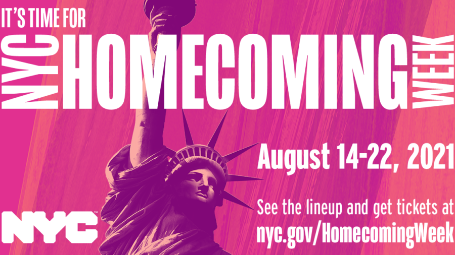 Pink graphic with white lettering saying NYC Homecoming Week August 14-22, 2021. A drawing of statue of liberty, seen from chest area to bottom of torch.