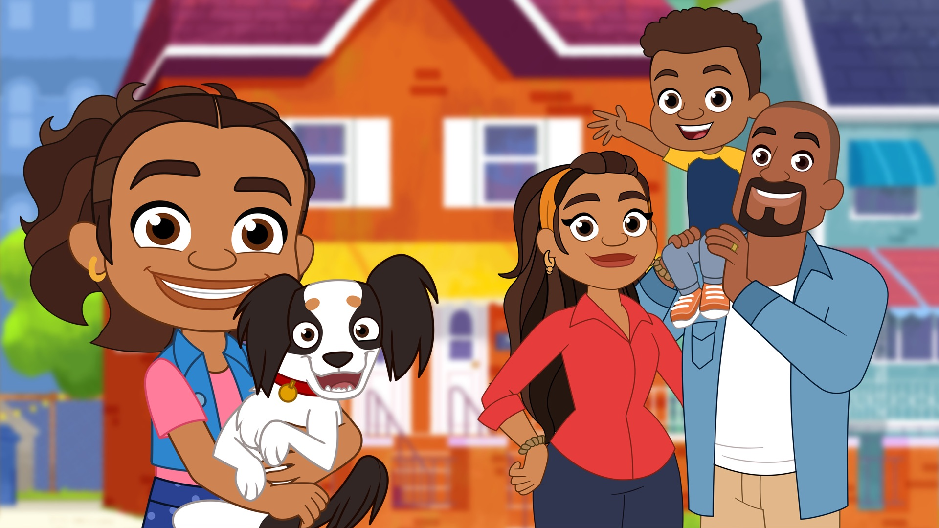 A cartoon image of a little girl holding a dog. Behind her is a orange house and a man and a woman. The man holds a little boy on his shoulder.