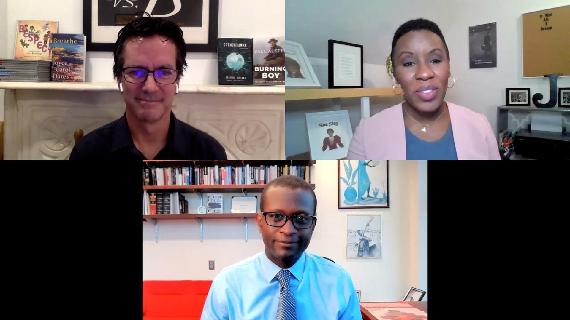 Screenshot of three people on a zoom call: a white man, a Black man, a Black woman